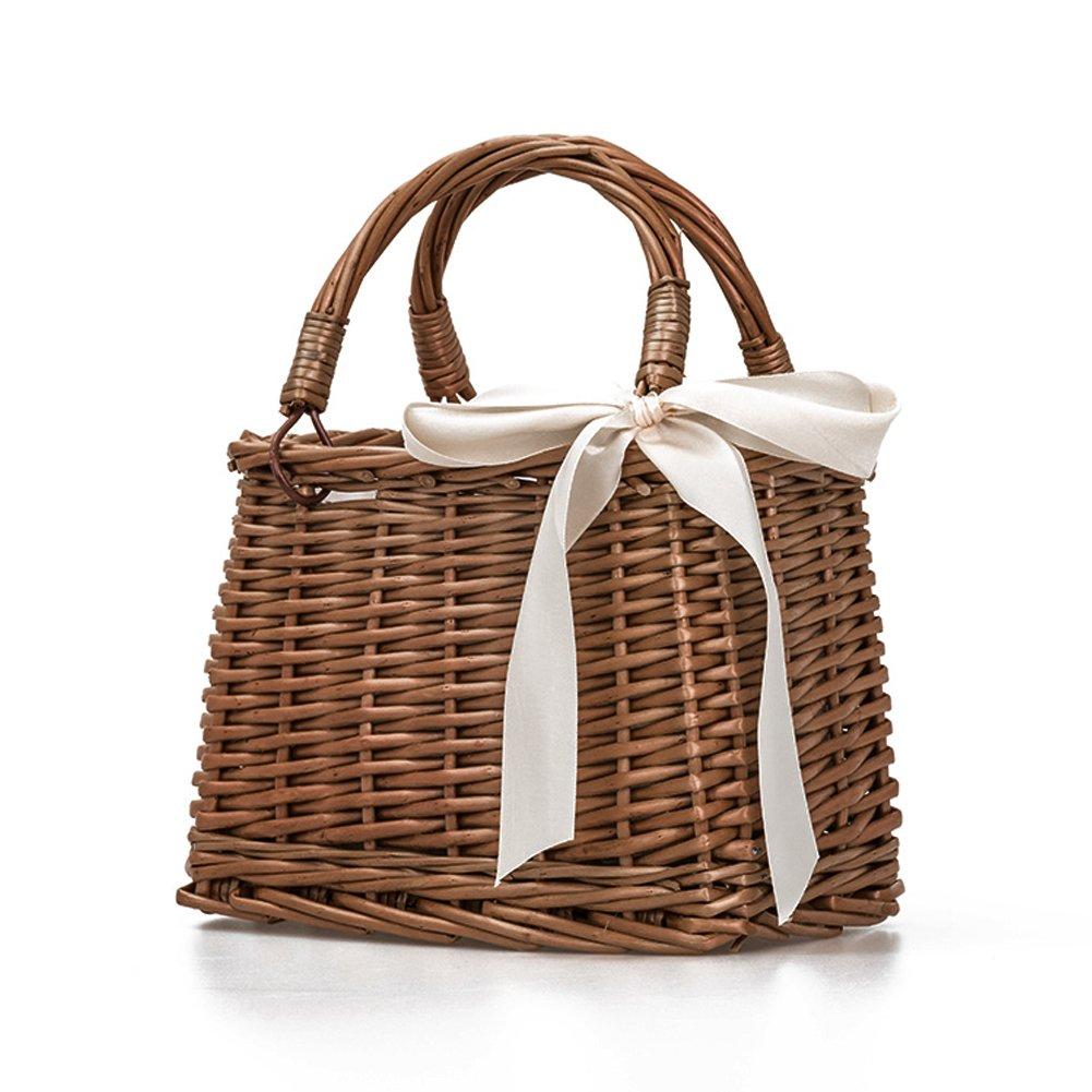 Sue Supply - Bolso de mano de estilo retro, hecho a mano, para la playa, cesta de almacenamiento, bolsa de almuerzo, bolsa de ratán tradicional, cesta de picnic, cesta de decoración de lazo, nudo con cubiertos, platos, gafas, etc.