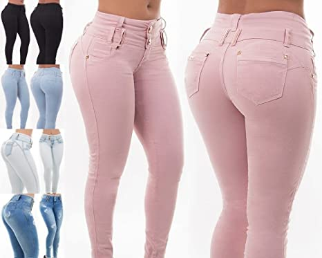 Pantalones vaqueros de mujer con cintura alta, sexy, para ...