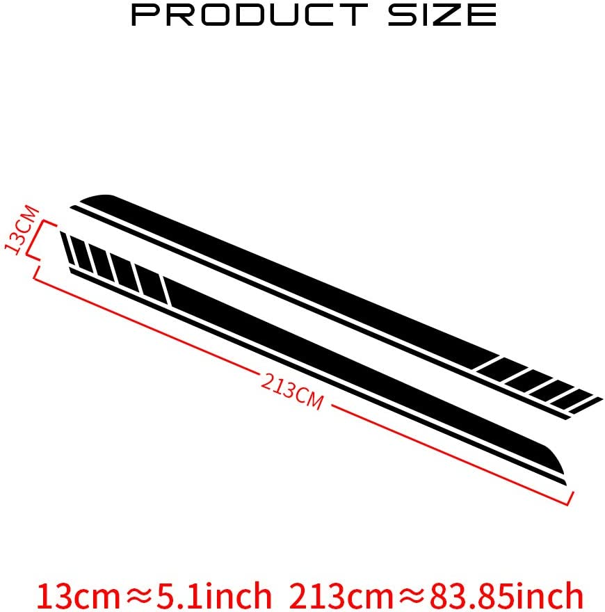 Racing Body Side Stripe Skirt Roof Hood Decal Sticker for E90 E60 A4 B8 A5 Vinyl Sport Badge Car Styling Accessories Red 1 Pair