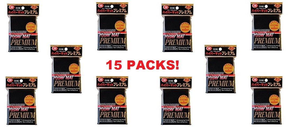 KMC Hyper Matte Sleeves Premium Black ×15 Sets (15 Packs/total 750 Sheets) ( Japan Import ) by KMC
