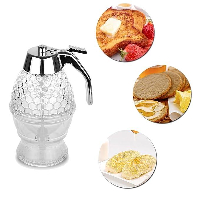 Onerbuy dispensador de miel o sirope, de capacidad, de acrílico, con gatillo y soporte, a prueba de roturas, sin BPA (200ML): Amazon.es: Hogar