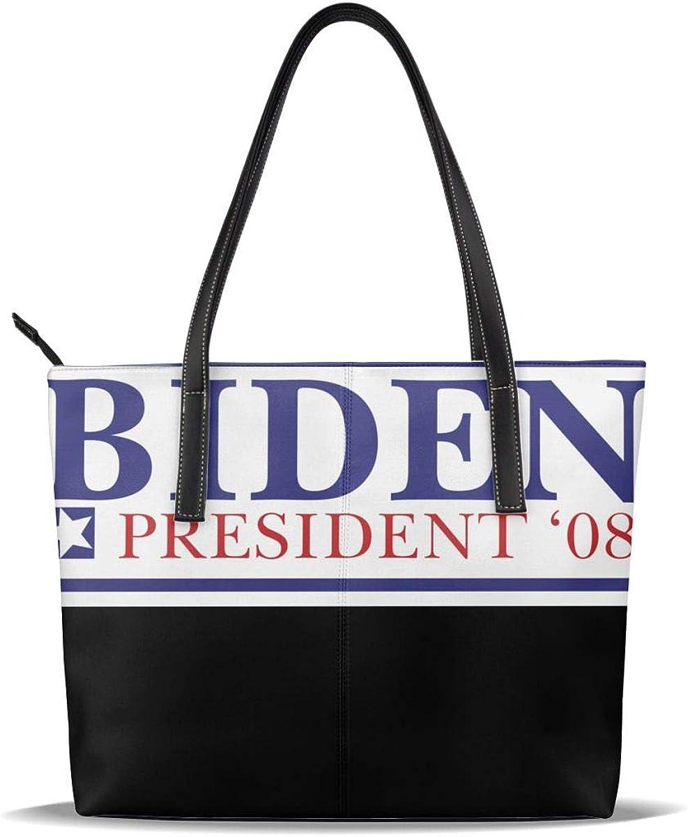Womens Leather Obama Biden 08 Tote Shoulder Bag