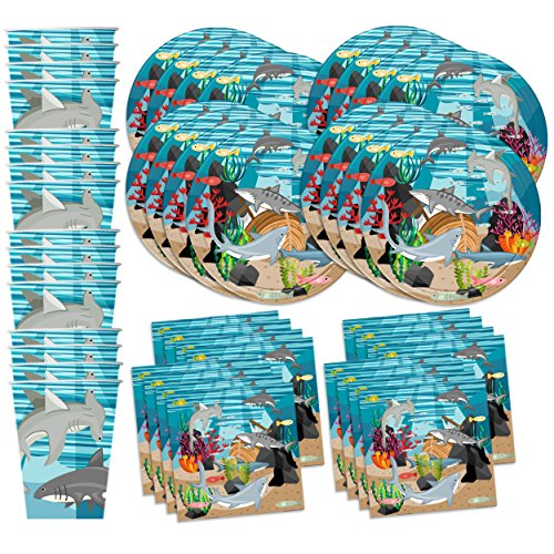 Shark Birthday Party Supplies Set Plates Napkins Cups Tableware Kit for 16 by Birthday Galore -