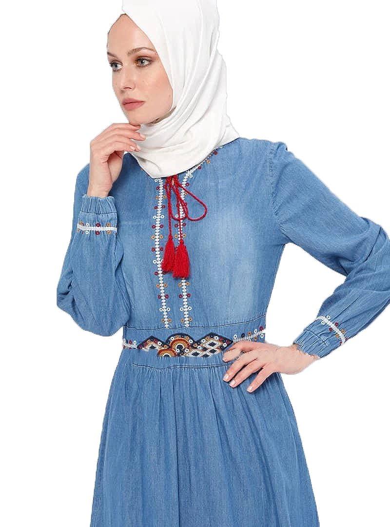 7cd0f7d11c5 BÜRÜN Turkish Blue - Crew Neck - Unlined - Denim - Dresses (42)   Amazon.co.uk  Clothing