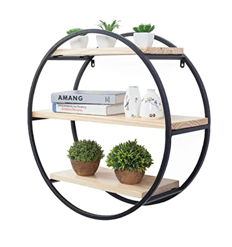 buy popular 708e6 b698c Wall Shelf Hanging Black Round Floating Wall Shelves Wall ...
