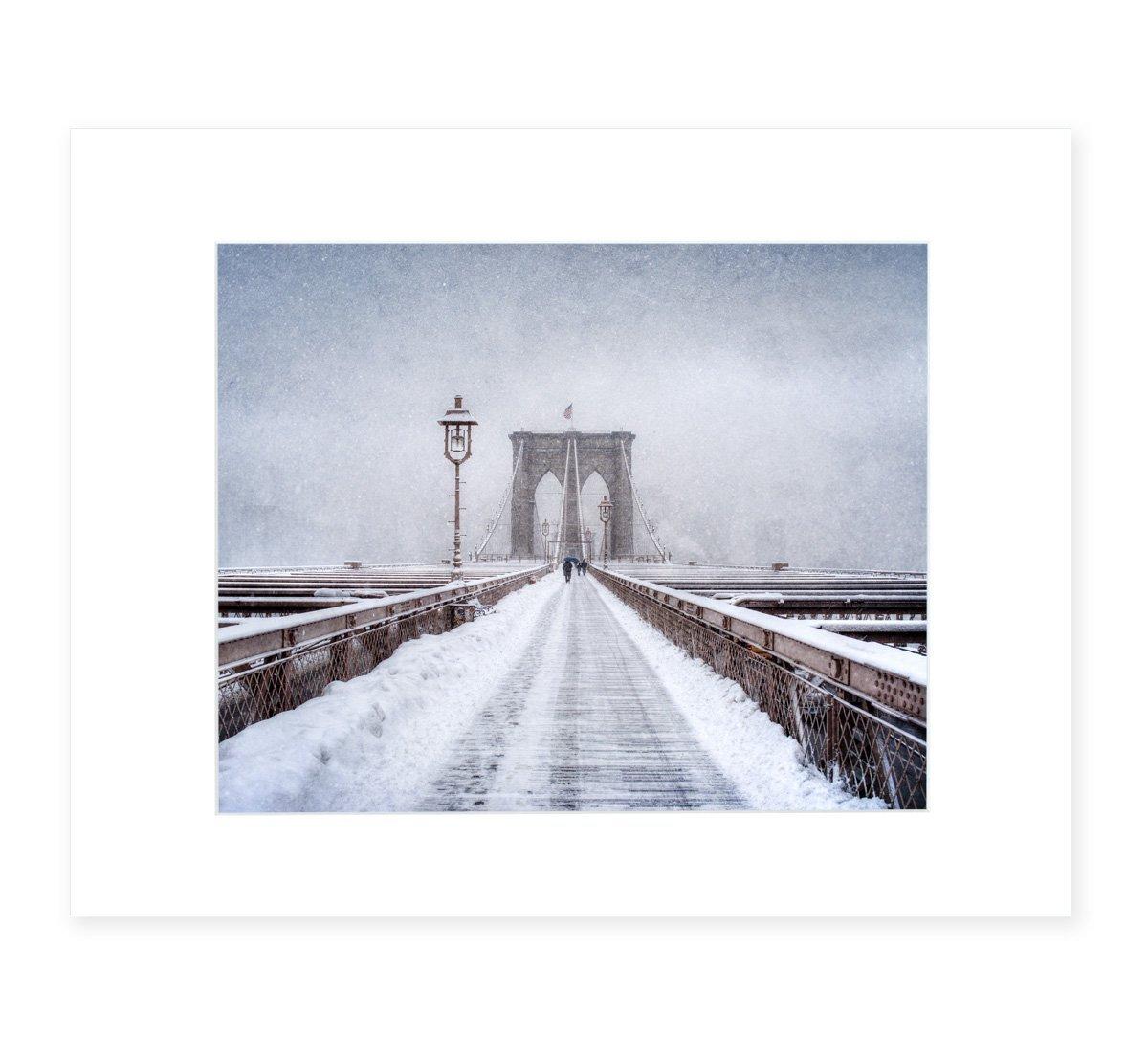 New York City Wall Art, Brooklyn Bridge Winter Walkway, NYC Decor, 8x10 Matted Photographic Print (fits 11x14 frame), 'Brooklyn Snow'
