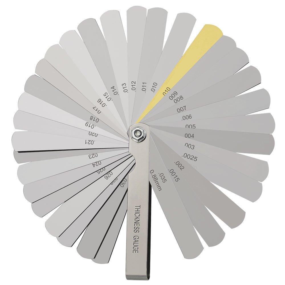 Feeler Gauge, BUZIFU 32 Blades Steel Gap Gauge Dual Marked Metric and Imperial Measuring Tool