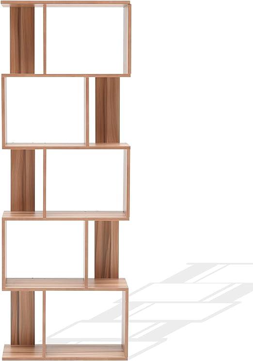 Mobili Rebecca® Biblioteca Mueble Libreria 5 Estante Madera Marron Diseño Moderno Salon Dormitorio Juvenil (Cod. RE4790): Amazon.es: Hogar