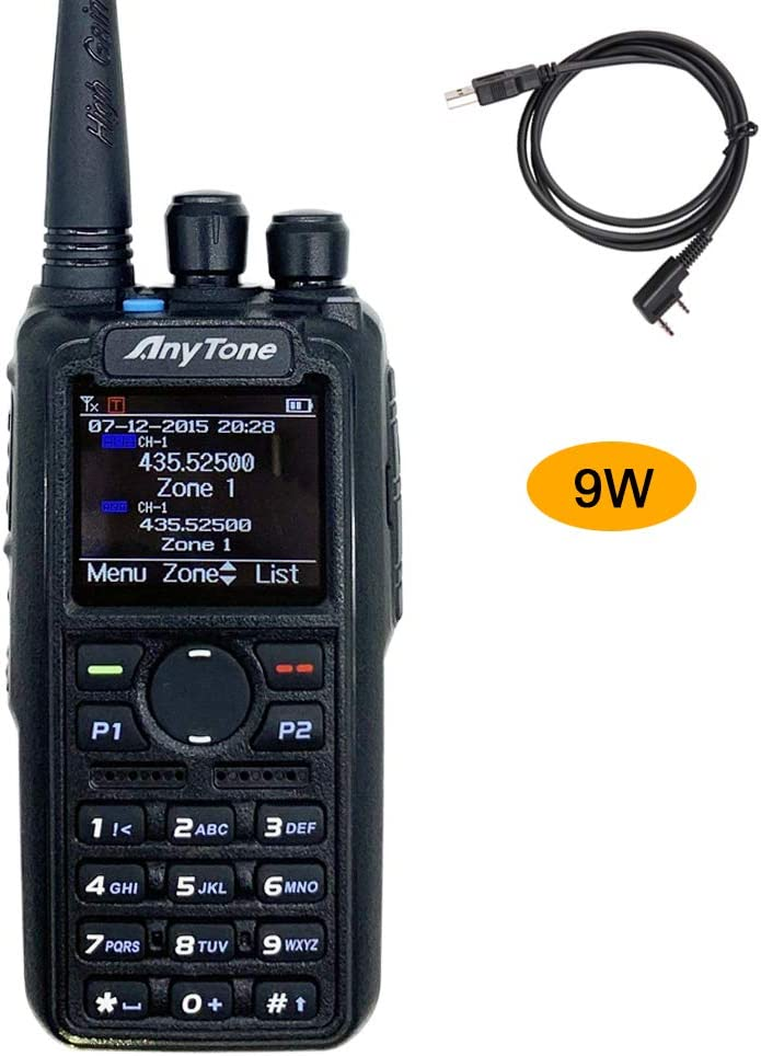 AnyTone AT-D878S 9//5//2.5//1-Watt Single Band UHF 400-480MHz DMR//Analog 3100mAh Battery Two-Way Radio Transceiver