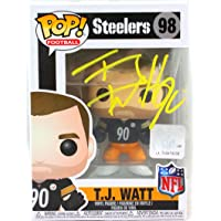 $185 » TJ Watt Autographed Pittsburgh Steelers Funko Pop Figurine- Beckett W Hologram Yellow
