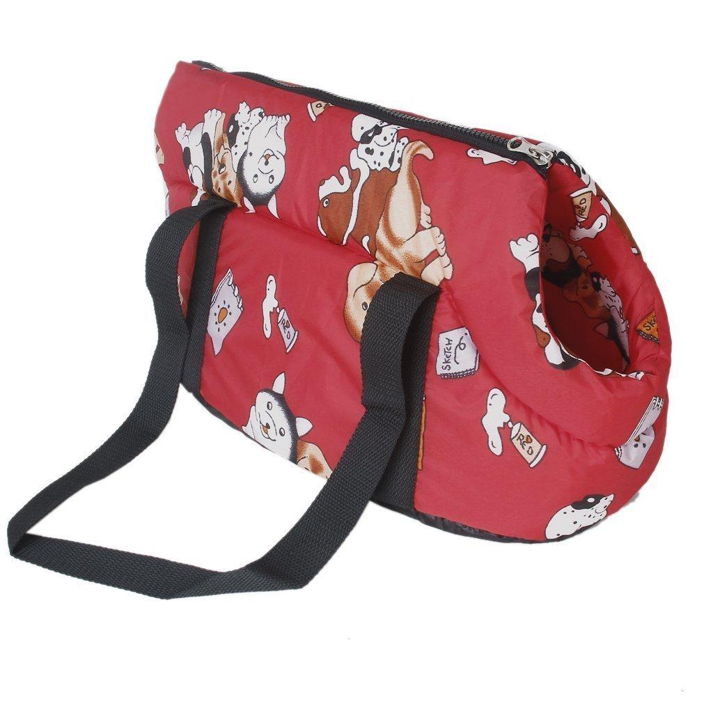 SODIAL(R)Bolsa de viaje de hombro llevado suave Bolso para perro / gato de tamano pequeno -rojo 015249