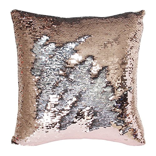 TRLYC Rose Gold and Silver 18 by 18inch Reversible Mermaid Sequin Pillow Case for Single Party