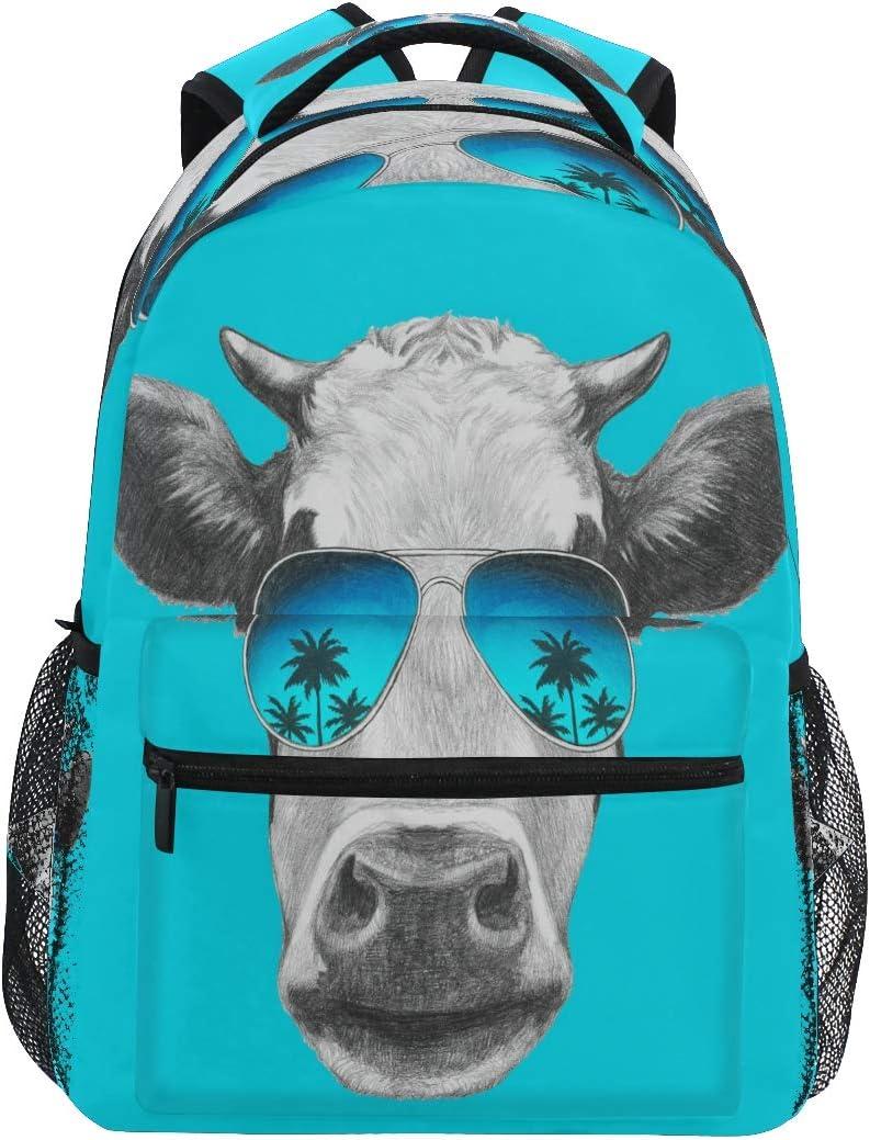 LUCKYEAH - Mochila con diseño de vaca y palmeras para el colegio, para adolescentes y niñas, para viajes, camping, gimnasio, senderismo