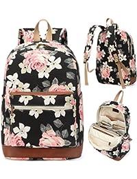 Girl's School Rucksack College Bookbag Lady Travel Backpack 14Inch Laptop Bag (Floral)