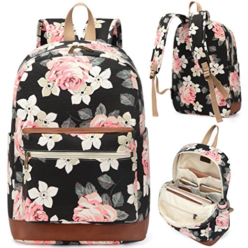 Kenox Girl's School Rucksack College Bookbag Lady Travel Backpack 14Inch Laptop Bag (Floral) ()