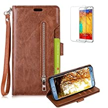 Galaxy A5 (2017) Case [with Free Screen Protector], Funyye Multifunction PU Leather Wallet Phone Cover Premium Genuine Magnetic Buttons Zipper Wallet Double Sided Card Slot Skin Practical Business Style Protective Skin for Samsung Galaxy A5 (2017)/A520 - Brown