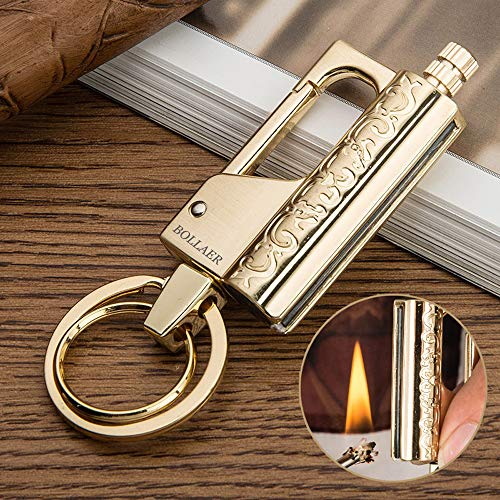 BOLLAER Outdoor Survival Fire Starter, Metal Matchstick Keychain Lighter, Emergency Hiking Survival Camping Fire Starter…