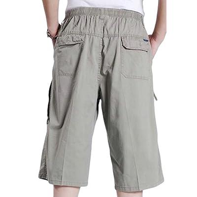Abetteric Mens Classic Half Pants Elastic Drawstring Plus Size Short Pants