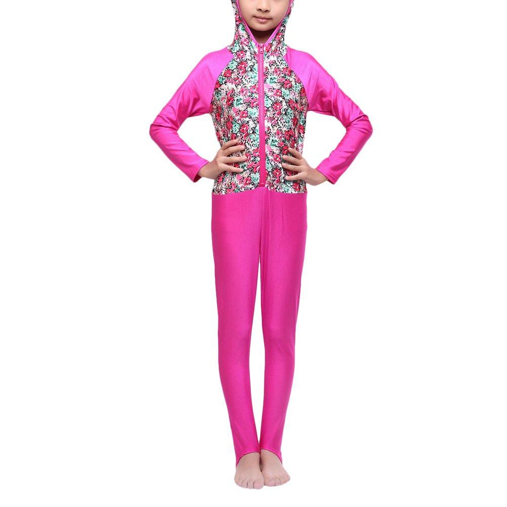 Zhuhaitf Girls Floral Prints Full Cover Beachwear Burkini Muslims Modest Swimwear