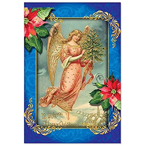 Boxed holiday greeting cards amazon b1747axsg box set of 12 christmas angels christmas greeting cards with envelopes m4hsunfo