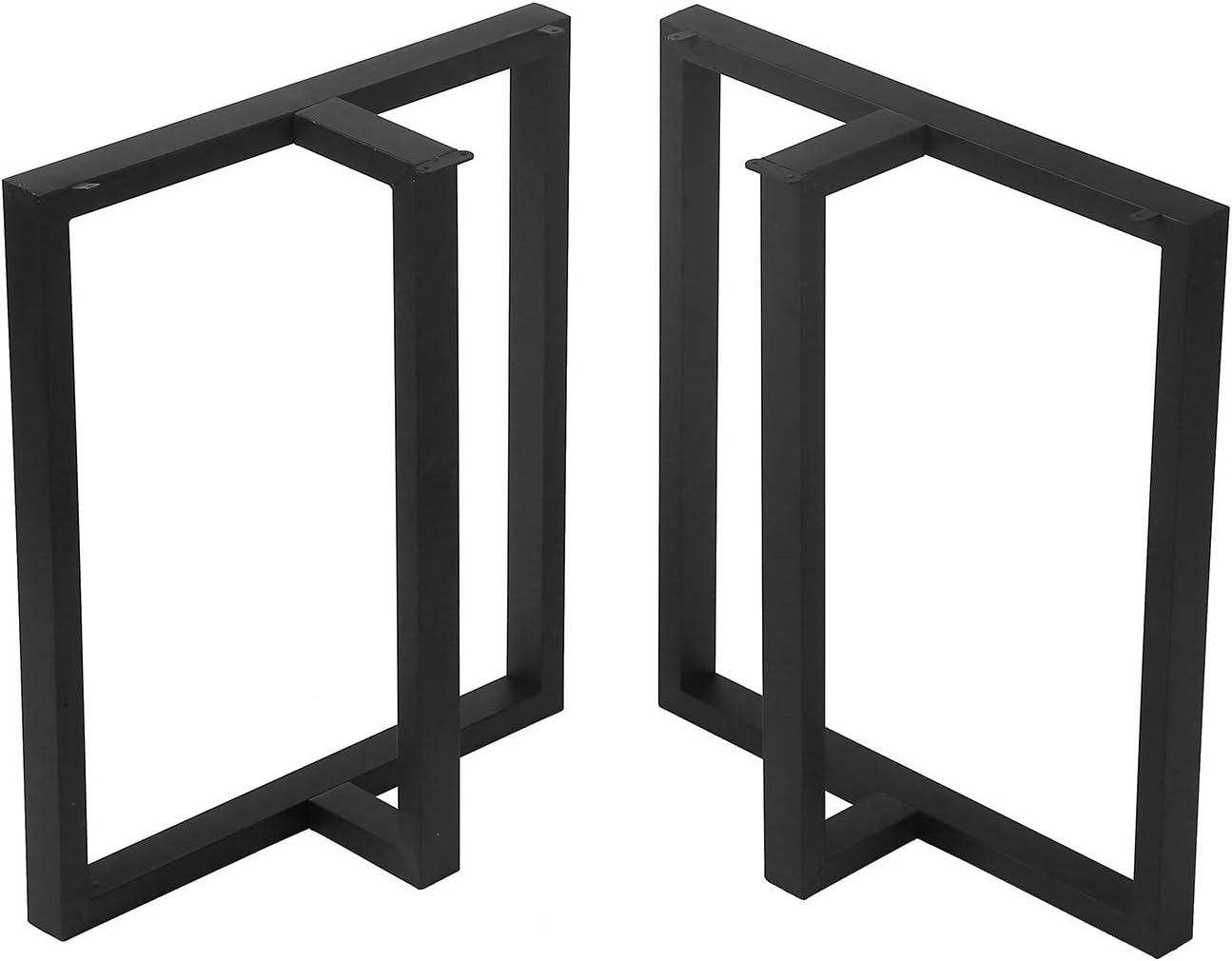 "TOKIKA Industrial Rustic Furniture Legs 28"" H x 24"" W Decory T-Shaped Table Legs,Heavy Duty Metal Desk Legs,Dining Table Legs, DIY Iron Brackets Bench Legs(Set of 2, Black)"