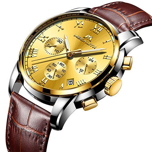 Mens Watches Men Luxury Chronograph Waterproof Sport Date Business Analogue Brown Leather Wrist Watch