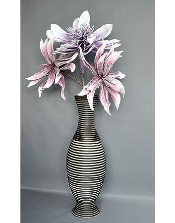 Vase Aus Rattan Acryl   Farbe Dunkel Braun Und Grau Stein   Sammlung  Hypatia