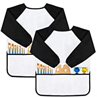 GODR7OY Kids Art Smocks, Painting Apron Artist Smock with Sleeve and 3 Pockets 2 Pack Black/White Set for Age 6-9 Years (Medium)