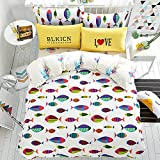 Mumgo Home Bedding Underwater World Fish Color Jellyfish Mix Style Design 100% Cotton for Adult Kids Full/Queen Duvet Cover Set 4 Piece without Comforter