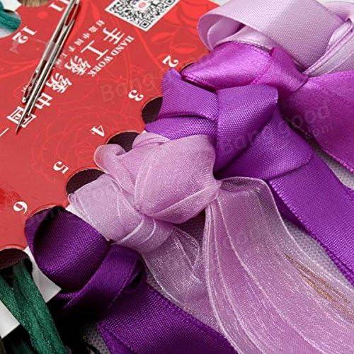 Bazaar 50x58cm 3D Silk Ribbon Purple Flower Cross Stitch Kit Embroidery DIY Handwork Home Decoration