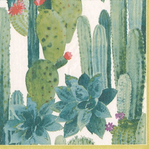 Caspari - Triple-Ply Lunch / Luncheon Napkins Featuring Pierre Frey Culiko Cactus Design - for Garden Parties - Pack of 40