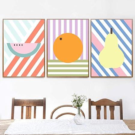 Woplmh Pastèque De Dessin Animé Orange Poire Mur Art Toile