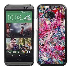 Cubierta de la caja de protección la piel dura para el HTC ONE M8 2014 - pink oil colors teal pink dripping chaos