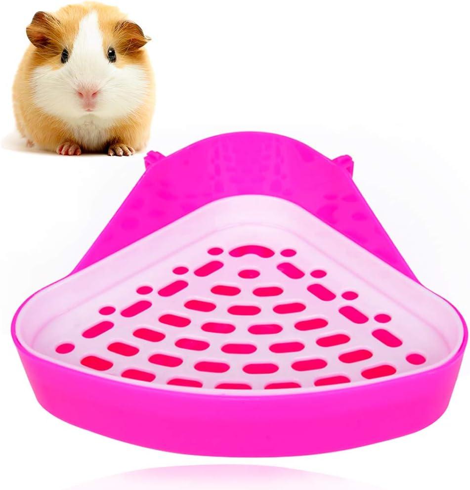 FANDE 1 pcs Triángulo Orinal Corner Caja,Bandeja higiénica esquinera para Mascotas,diseño de triángulo pequeño. para hámsters, Chinchillas, cobayas, Conejos y Hurones.