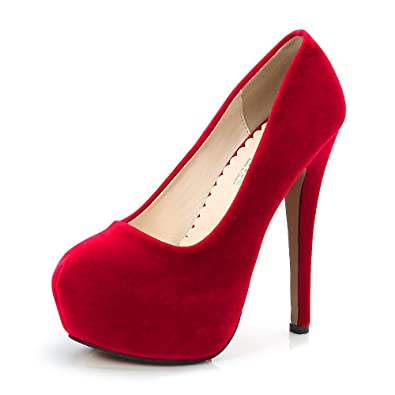 3e5c4276932 Women s Round Toe Platform Slip On High Heel Dress Pumps Faux Suede Red Tag  35 -