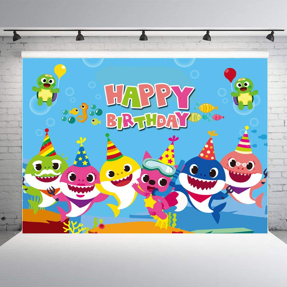 Blue Ocean Theme Baby Shark Family Photography Backdrops Happy Birthday Decoration Supply Photo Background Studio Props Banner Vinyl 7x5 ft by Qian