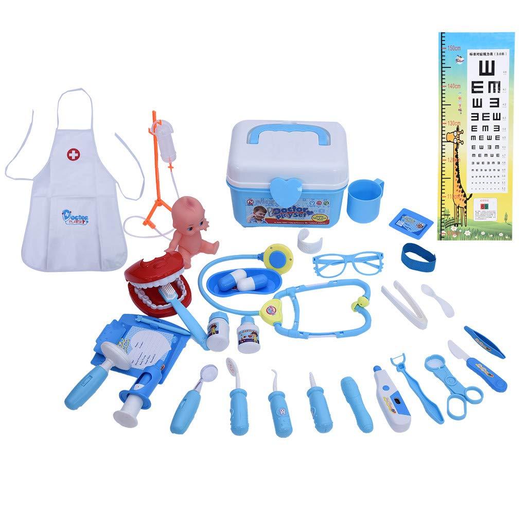 1701 Children's Play Hose pzzle simlation Medicine Box boy Girl nrse Doctor Toy Set Blue