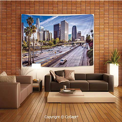PUTIEN Natural Luxury Tapestry,Downtown Cityscape of Los Angeles California USA Avenue Buildings Palms,Tapestry Art Print Tapestry for RoomBlue Grey Green ()