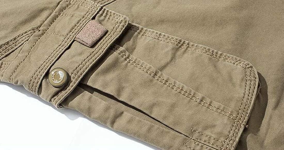 Joe Wenko Men Straight Leg Big Tall Combat Multi Pockets Casual Cargo Pants