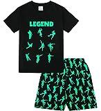 The PyjamaFactory - Pijama corto de algodón para niños, con palabra Legend y dibujos de baile y juego, color negro y…