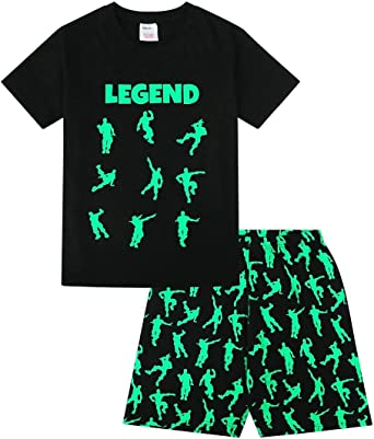 Pijama Corto de algod/ón para ni/ños Color Negro y Verde Emote Legend
