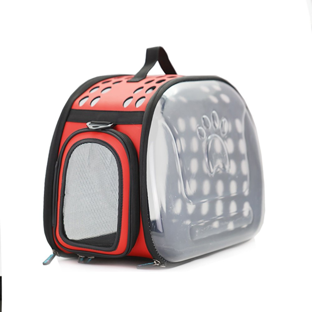 Red GWM Backpacks Transparent pet Carrier,Cat Travel Bag,Breathable and Lighteweight for Cat, Rabbit and Other Small Medium Sized Pets,28  45  32cm (color   Red)