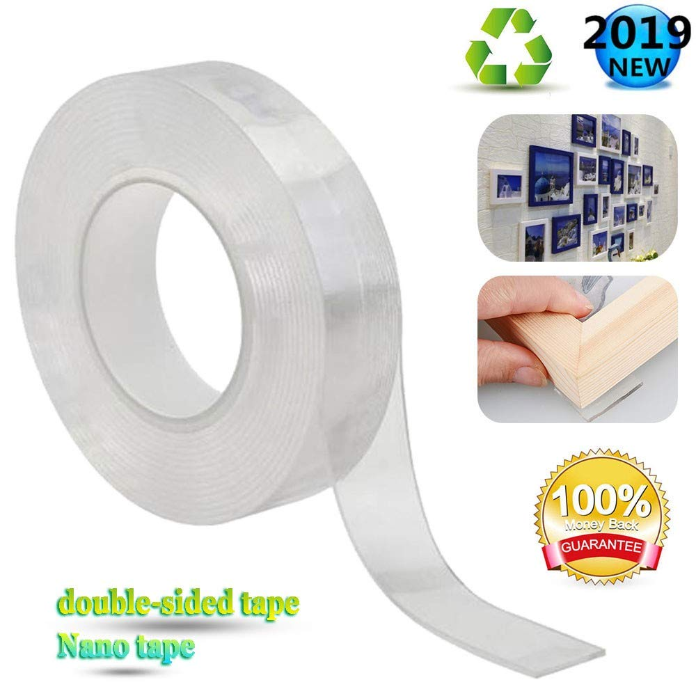 Ylyh Reusable Double-sided tape Washable Nano-tape Safe and Non-toxic Invisible Installation Suitable for DIY Production Fixed Furniture Position Small Items Storage