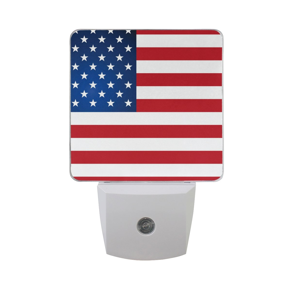 JOYPRINT Led Night Light Independence Day American USA Flag, Auto Senor Dusk to Dawn Night Light Plug in for Kids Baby Girls Boys Adults Room