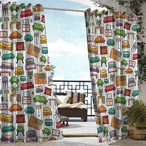 crabee Outdoor Balcony Privacy Curtain Doodle,Home Interior Elements,W96 xL96 Outdoor Curtain for Patio,Outdoor Patio Curtains