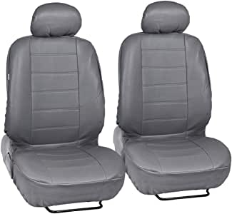 Gray Synthetic Leather Seat Covers Front Pair Set of 2 - Premium Leatherette