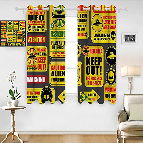 SATVSHOP Windows Curtains Living Room 2 Panel - 84W x 108L Inch- Blackout Draperies for Bedroom.Outer Space Warning UFO Signs with Alien Fac Heads Galactic Paranormal Activity Dign Yellow.]()