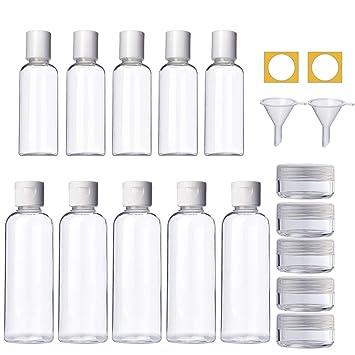 4b652a9735ae TUPARKA 25 Packs Travel Size Bottle Set 50ml 100 ml Clear Plastic ...