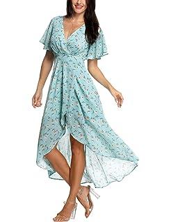 b2958104ca09 Azalosie Wrap Maxi Dress Short Sleeve V Neck Floral Flowy Front Slit High  Low Women Summer