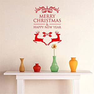BIBITIME 2 Red Elks Wall Decal Sayings Merry Christmas Happy New Year Quotes Sticker for Classroom Nursery Bedroom Kids Room Shop Showcase Display Window Decor